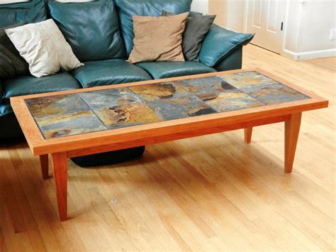 slate tile coffee table slate tile table finished with tapered end table legs