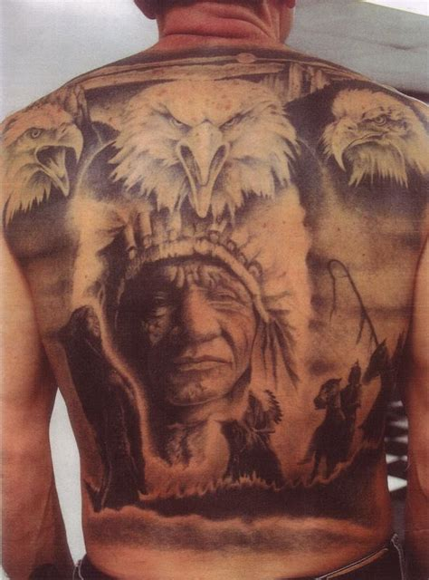 black and grey indian tattoos black and grey indian tattoo back piece by john williams