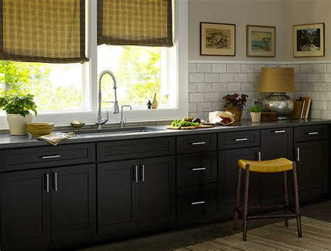 dark cabinets in kitchen black kitchen cabinets dayton door style cliqstudios