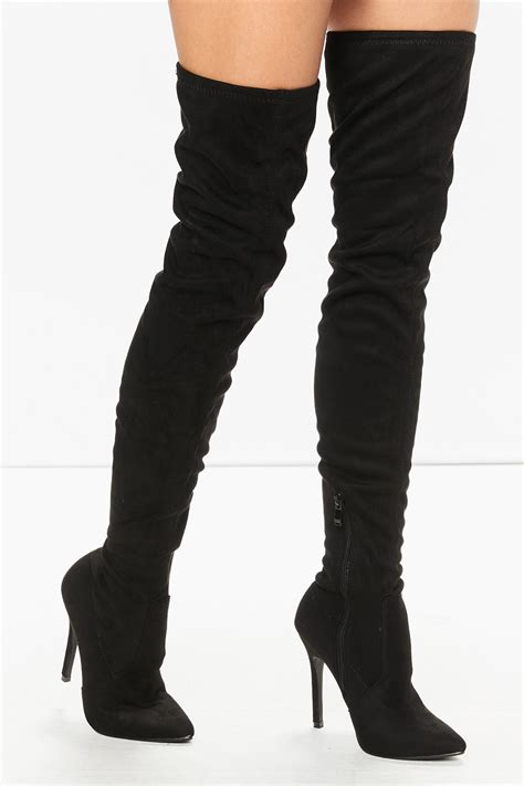 Khloe Black khloe black suede pointed toe the knee boots