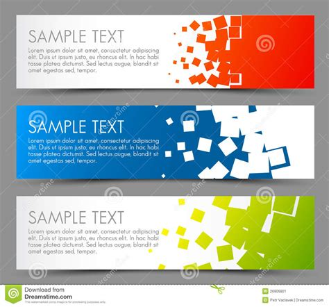 design banner simple simple colorful horizontal banners stock image image
