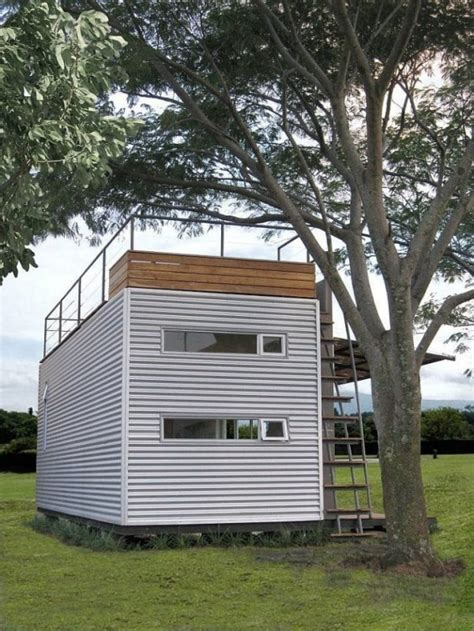 tiny house deck 20 shipping container with a rooftop deck and room for four