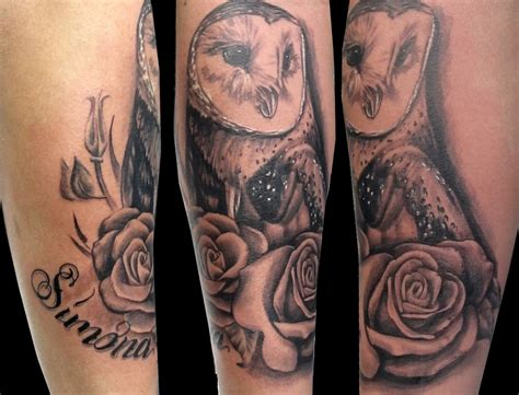 owl with roses tattoo owl tattoos their meaning plus 14 stunning exles