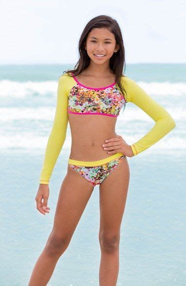 tween girl swimwear bikinis to the 9 s crop rashguard bikini big girls nordstrom
