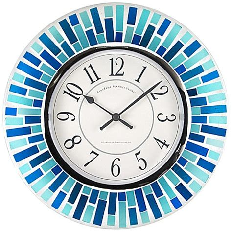 bed clock firstime 174 mosaic wall clock in blue bed bath beyond