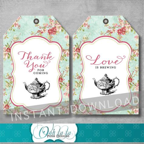 shabby chic bridal tea party favor tags bridal shower