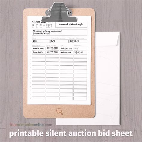 auto bid auction 2009 silent auction bid sheet models picture