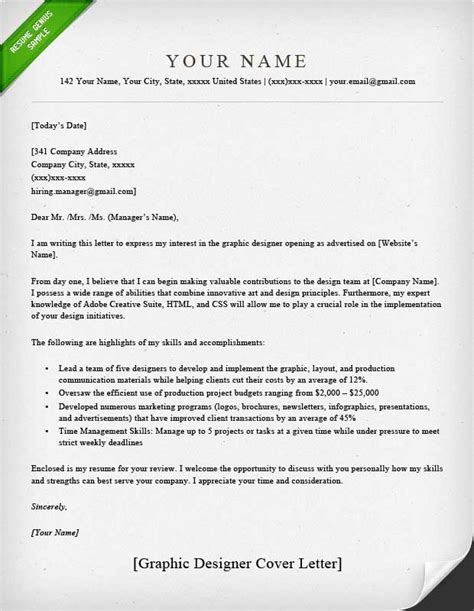 Email Cover Letter Design Graphic Designer Cover Letter Sles Resume Genius