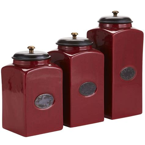 Cute Kitchen Canisters Red Ceramic Canisters Ideas For New Apt Pinterest