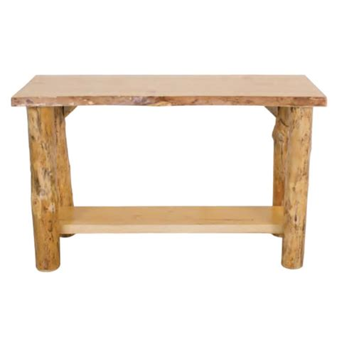 Rustic Pine Live Edge Sofa Table W Shelf The Log Pine Sofa Tables
