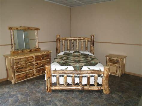 rustic aspen log bedroom set queen complete bed dresser nightstand mirror ebay