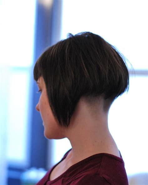 bobbed haircut with shingled nape women s short brunette retro shingle bob with shaved nape