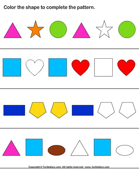 pattern and shape worksheets complete shapes pattern by coloring worksheet turtle diary