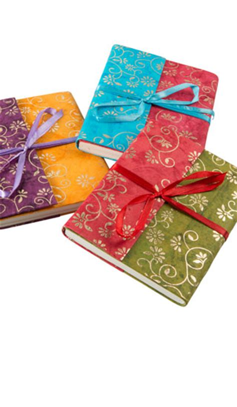 Handmade Paper Notebook - handmade paper notebook gold flower batik gt notebooks