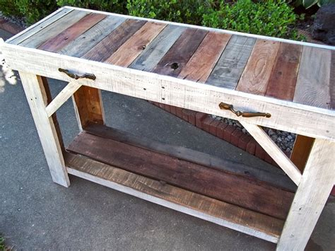 reclaimed wood entry table custom made rustic reclaimed pallet entry table s