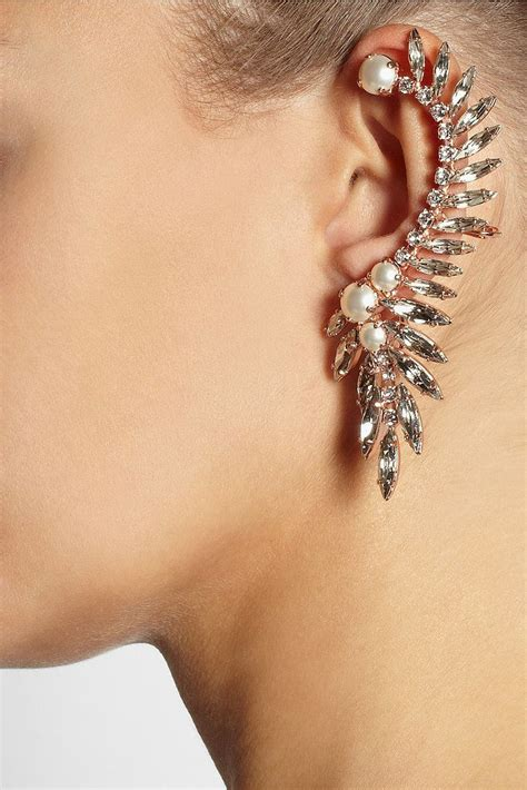 Crystal And Pearl Chandelier Earrings The Ear Cuff Is The New Statement Necklace