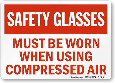 safety glasses must be worn sign compressed air safety sku s 2016 mysafetysign