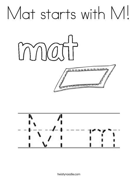 Mat Coloring Page mat starts with m coloring page twisty noodle