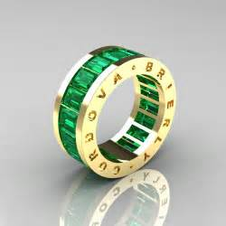 Yellow gold emerald channel cluster infinity wedding band r174 14ygem