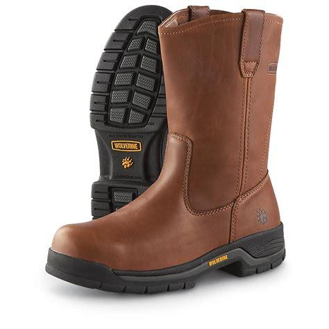 mens steel toed boots s wolverine 174 harrison 10 quot steel toe wellington boots