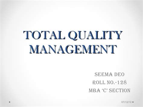 Mba Total Quality Management by Total Quality Management