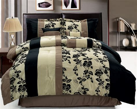 7pcs queen floral stripe beige and black comforter set ebay