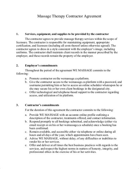 Therapy Contract Template 8 Sle Independent Contractor Agreements Sle Templates