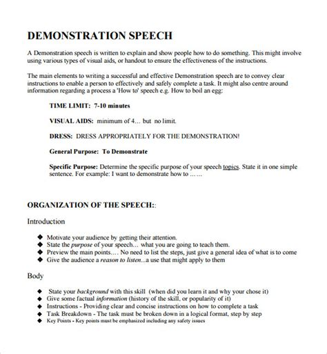 demo templates sle demonstration speech exle template 8 free