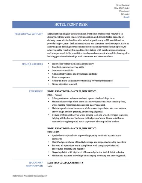 Sle Resume Objectives For Front Desk front desk resume resume templates front desk objective