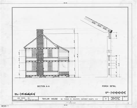 house cross section cross section and porch detail john c manson house