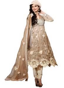 fancy cream net designer suit