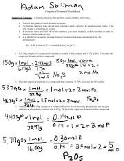 Empirical Formula Worksheet Answers Pdf