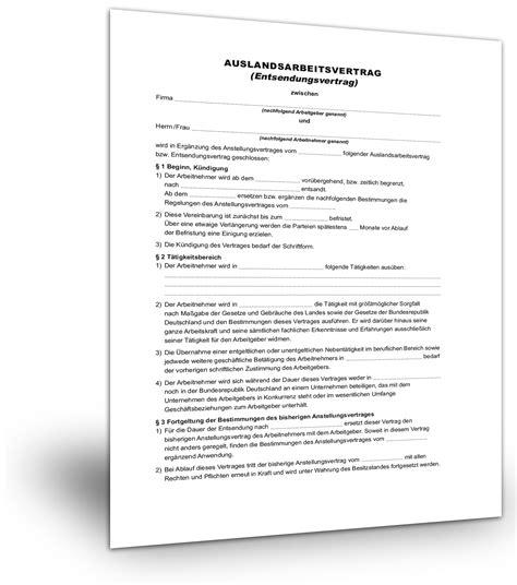 Kostenlose Vorlage Kündigung Versicherung entsendevertrag muster kostenlose vorlage als