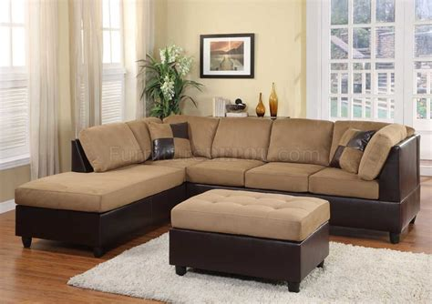 Brown Sectional Sofa Microfiber Light Brown Microfiber Modern Sectional Sofa W Ottoman