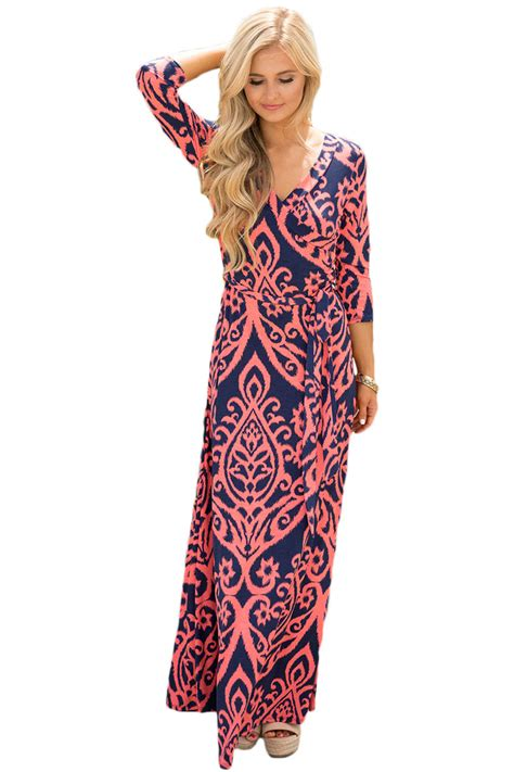 Dress Midi Mini Gaun Spandek Set Cardigan Polos Resmi Formal Kerja us 9 89 navy coral damask print wrap v neck boho dress dropshipping