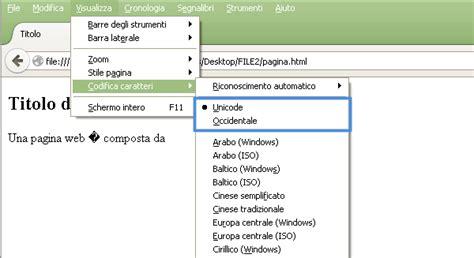 lettere accentate html firefox lettere accentate e codifiche dei caratteri