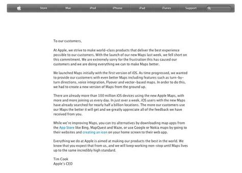 Customer Letter From Apple Maps Dropped By Consumers In Favour Of Apple