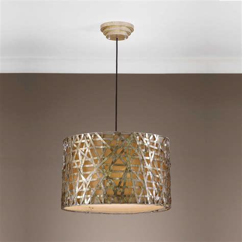 Metal Drum Pendant Light Uttermost Alita Chagne Metal Drum Three Light Pendant Ut21108