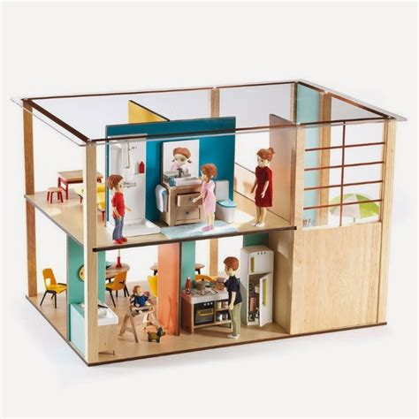 modern dollhouse mini modern 1 16 djeco dollhouse is throwback modern cuteness