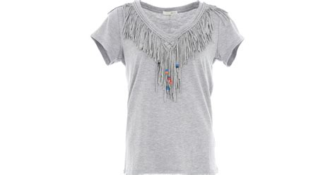 fringe beaded shirt relish fringed t shirt with beaded detail in gray lyst