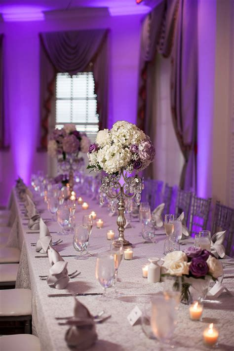wedding table decorations purple and silver lavender and white wedding centerpiece mon cheri