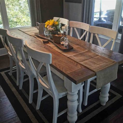 custom white oak farmhouse table by knottywoodcraftchs on