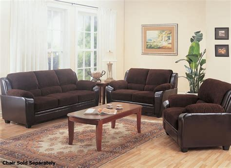 coaster 502811 502812 brown fabric sofa and loveseat set