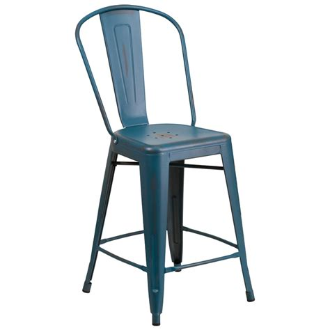 Distressed Blue Bar Stools by Distressed Blue Metal Counter Height Stool With