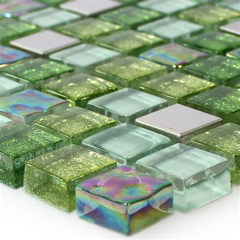 glass stainless steel mosaic tiles green mix ds33359