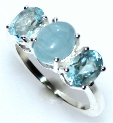 White 0 38 Ct Silver Ring 3 blue topaz aquamarine ring 925 sterling silver