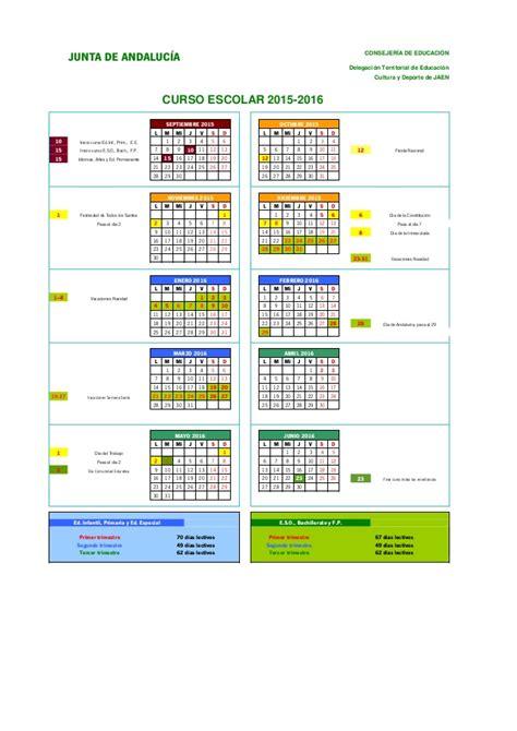 Calendario Escolar Andalucia 15 16 Calendario Gr 225 Fico 15 16