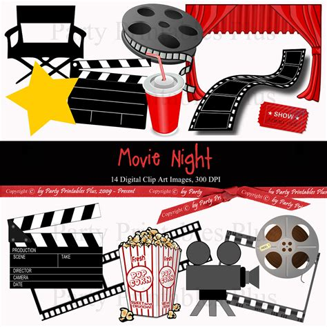movie themes pictures items similar to movie theme night digital clip art