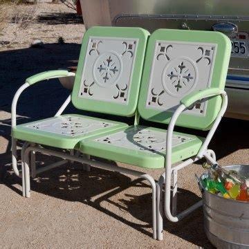 retro vintage style metal glider loveseat patio garden