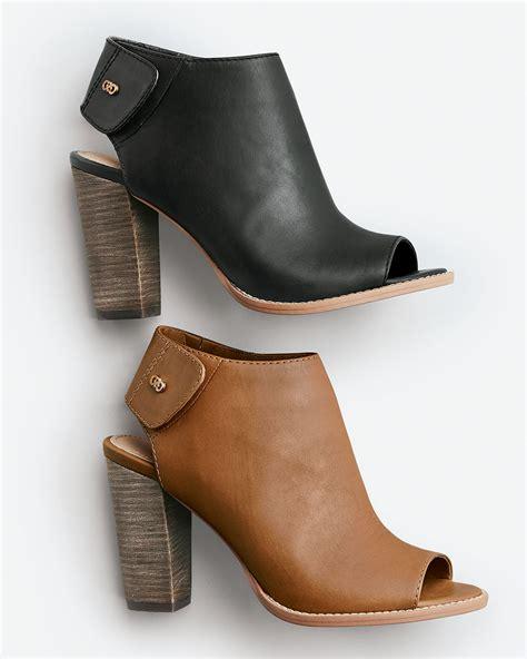 Peep Toe Booties Galore by Cole Haan Wrey Peep Toe Leather Bootie In Black Lyst